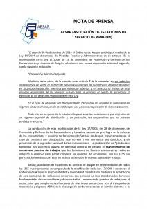 Nota de Prensa Información para Estaciones de Servicio
